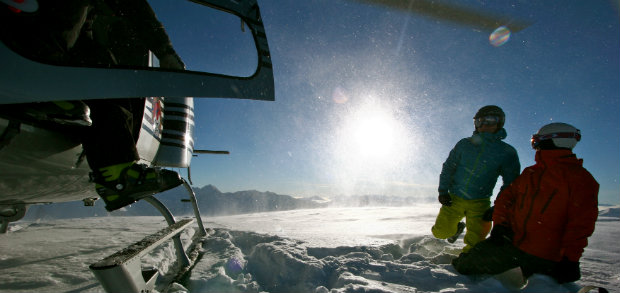 Heliskiing on a powder day