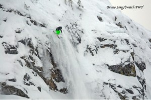 Skier freeskiing at Revelstoke