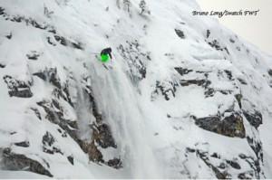 Skier freeskiing at Revelstoke